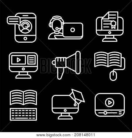 Vector business webinar and online education outline icons concepts illustration internet trainings courses school teamwork. Tutorial science graduation development black white symbols.