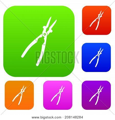Metal welder pliers set icon color in flat style isolated on white. Collection sings vector illustration