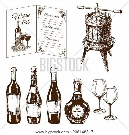 Vintage winery wine production handmade draft winemaking sketch old fermentation grape drink vector illustration. Traditional vineyard alcohol agriculture farm process