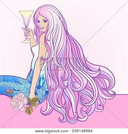 Young beautiful girl with long hair with glass of wine in rich decorated floral patterned frame. Stock line vector illustration.
