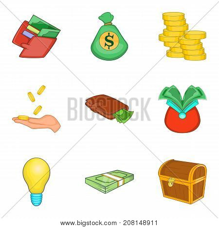 Card cash icons set. Cartoon set of 9 card cash vector icons for web isolated on white background