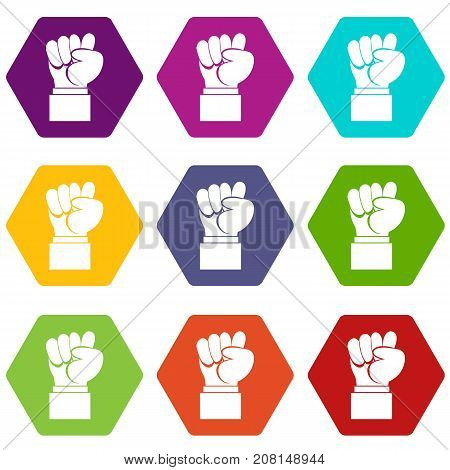 Raised up clenched male fist icon set many color hexahedron isolated on white vector illustration
