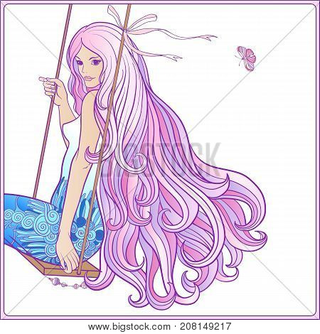 Young beautiful girl with long hair on swing on rich decorated floral patterned background. Stock line vector illustration.
