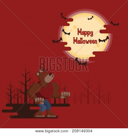 Happy Halloween werewolf howling at night in a forest under glowing full moon and flying bats with dark shadow on red background in cartoon style