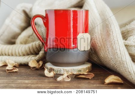 Red mug of herbal tea beige cozy knitted sweater and dry leaves on the wooden background. Delicious cold weather beverage for fall times. Stay at home concept.