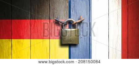France And Germany Flags On Wooden Door With Padlock. 3D Illustration