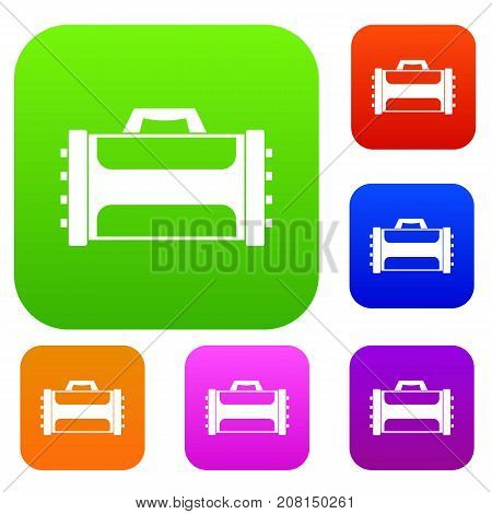 Welding machine set icon color in flat style isolated on white. Collection sings vector illustration