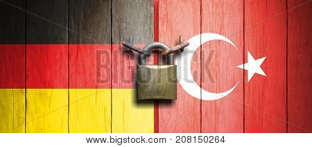 Turkey And Germany Flags On Wooden Door With Padlock. 3D Illustration