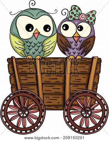 Scalable vectorial image representing a cute couple owls on wooden trolley, isolated on white.