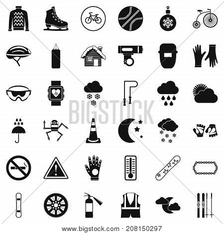 Glove icons set. Simple style of 36 glove vector icons for web isolated on white background