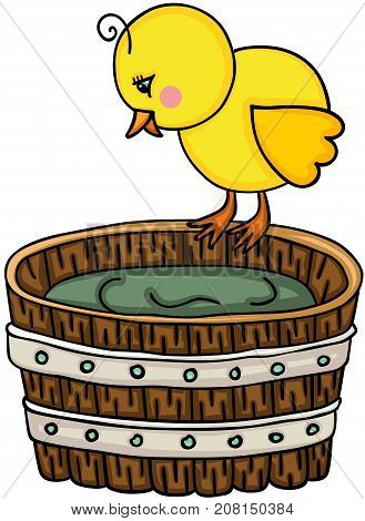 Scalable vectorial image representing a little chick with wooden tub, isolated on white.