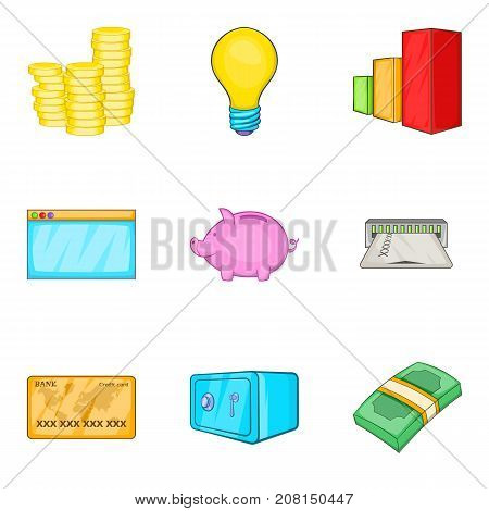 Accrual icons set. Cartoon set of 9 accrual vector icons for web isolated on white background