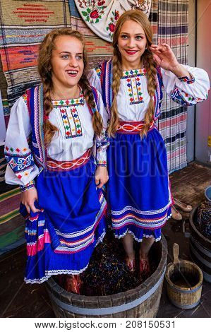 Bobovysche Ukraine - 2017 October 7: Girls in traditional costumes crushed underfoot grapes in a barrel during the ethnic festival Bobovischenske Grono.