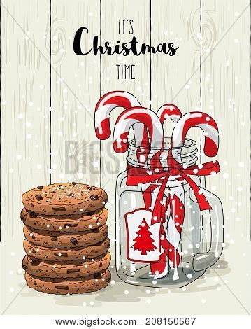 Christmas theme, candy canes in glass jar with red ribbon and stack of cookies, with text It's Christmas time on white wooden background, vector illustration, eps 10 with transparency