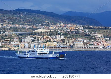 Huge Ferry in the Strait of Messina between Sicily and Mainland Italy
