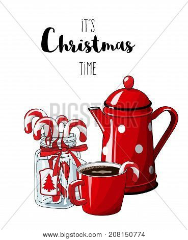 Red vintage coffee pot with cup an glass jar with candy canes isolated on white background, with text It's Christmas time, , illustration in country style, vector illustration, eps 10 with transparency