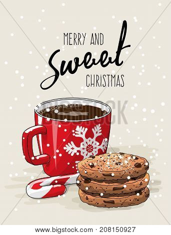 Christmas theme, Christmas theme, red cup of coffee with red ribbon and stack of cookies an candy cane, with text Merry ans sweet Christmas on bright background, vector illustration, eps 10 with transparency