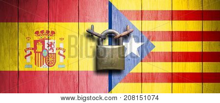 Spain And Catalonia Flags On Wooden Door With Padlock. 3D Illustration