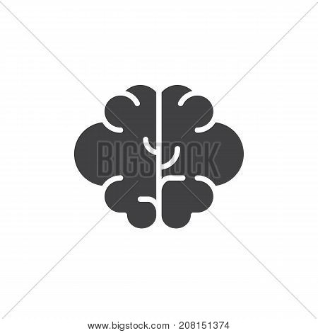 Brain icon vector, filled flat sign, solid pictogram isolated on white. Intellect symbol, logo illustration.