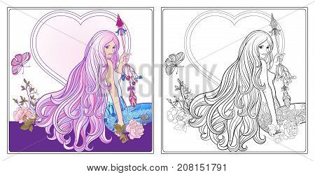 Young beautiful girl with long hair with arrow and roses. Stock line vector illustration. Colouring page for adult coloring book with sample