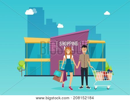 Boy and girl do shopping. Shopping mall building exterior. Flat design style modern vector illustration concept.