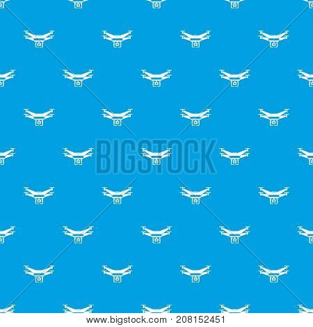 Drone video camera pattern repeat seamless in blue color for any design. Vector geometric illustration