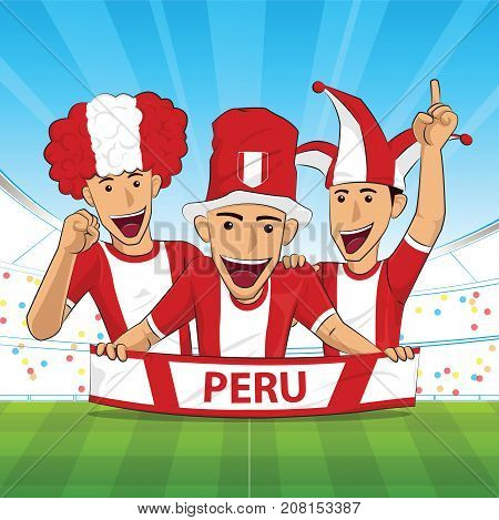 peru Flag. Cheer football support Vector illustration.