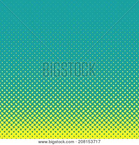 Geometrical halftone ellipse pattern background - vector graphic from yellow diagonal elliptical dots on teal background