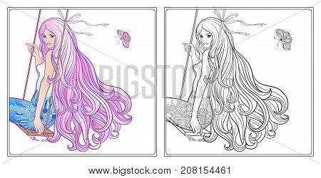 Young beautiful girl with long hair on swing. Stock line vector illustration. Colouring page for adult coloring book with sample