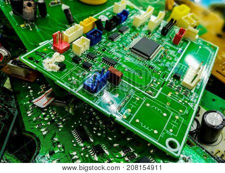 Integrated semiconductor microchip/ microprocessor on green circuit board
