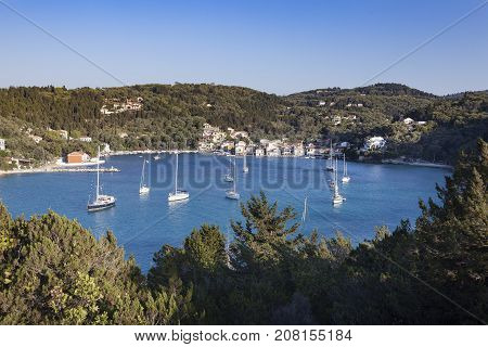 Lakka Bay on the island of Paxos, Greece.