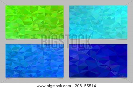 Polygonal mosaic chaotic triangle pattern mosaic card template set - modern vector graphic design elements from colored triangles