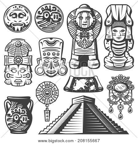 Vintage monochrome maya elements set with ceremonial masks totems coins mayan calendar jewelry vase map pyramid isolated vector illustration