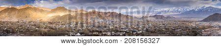 Panorama of the beautiful Leh city on surround mountains background Ladakh India Tibet.