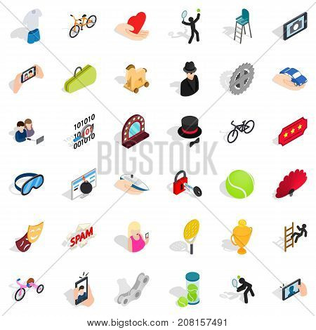 Spam icons set. Isometric style of 36 spam vector icons for web isolated on white background