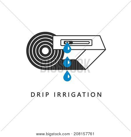 Drip irrigation icon. Drop tape with emitter, drops. Modern linear style. Vector illustration.