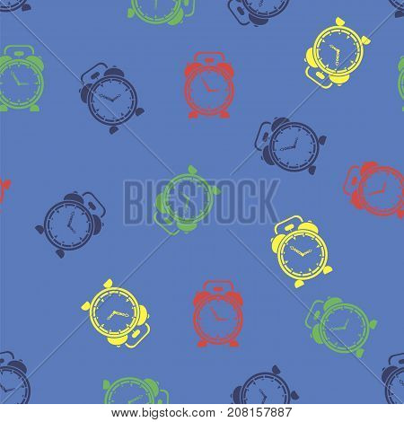 Colorful Clock Icon Seamless Pattern Isolated on Blue Background