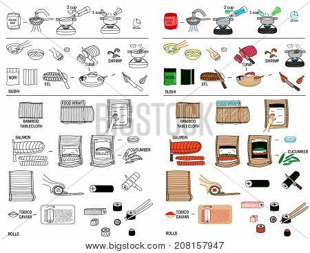 Recipe sushi and roll vector diy instruction manual illustration sketch meal food