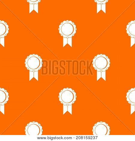 Rosette with ribbon pattern repeat seamless in orange color for any design. Vector geometric illustration