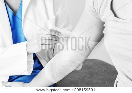 Compression Bandage To Inflammation, Application Of Figure Of Eight Bandage In Silhouette, Color And
