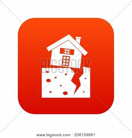 House after an earthquake icon digital red for any design isolated on white vector illustration