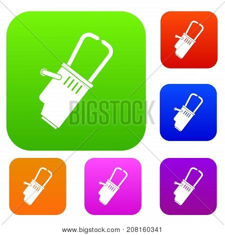 Welding equipment set icon color in flat style isolated on white. Collection sings vector illustration