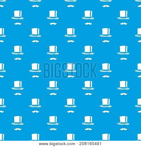 Cylinder and moustaches pattern repeat seamless in blue color for any design. Vector geometric illustration