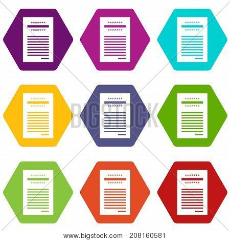 Sales printed receipt icon set many color hexahedron isolated on white vector illustration