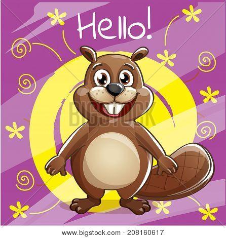 Vector illustration of cute cartoon hapy fun beaver. Greeting card, postcard. Hello.