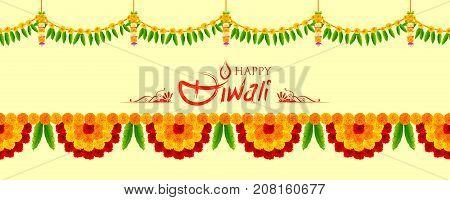 illustration of Flower garland decoration toran for Happy Diwali Holiday background