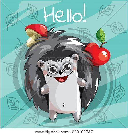 Vector illustration of cute cartoon hapy fun hedgehog. Greeting card, postcard. Hello.