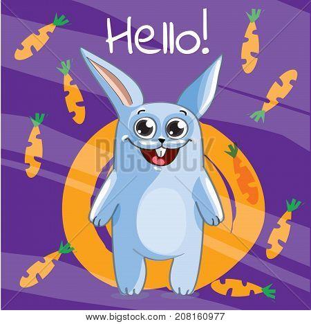 Vector illustration of cute cartoon hapy fun rabbit. Greeting card, postcard. Hello.