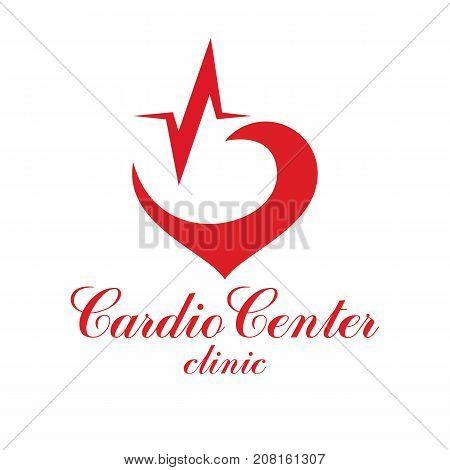 Cardiology vector conceptual logo created with red heart shape and an ecg chart. Cardiovascular illness treatment concept for use as cardio center emblem.