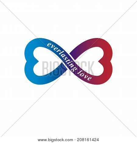 Love Forever conceptual logo vector symbol created with infinity loop and male Mars an female Venus signs. Relationship creative idea.